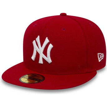 Boné plano vermelho justo 59FIFTY Essential da New York Yankees MLB da New Era