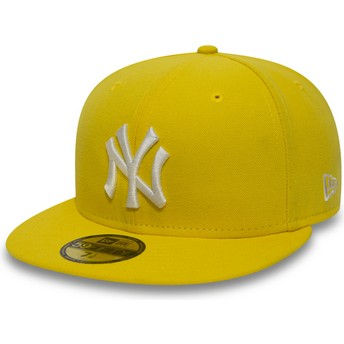 Boné plano amarelo escuro justo 59FIFTY Essential da New York Yankees MLB da New Era
