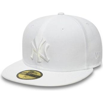 Boné plano branco justo 59FIFTY White on White da New York Yankees MLB da New Era