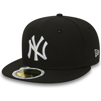 Boné plano preto justo para criança 59FIFTY Essential da New York Yankees MLB da New Era