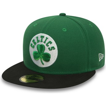 Boné plano verde justo 59FIFTY Essential da Boston Celtics NBA da New Era