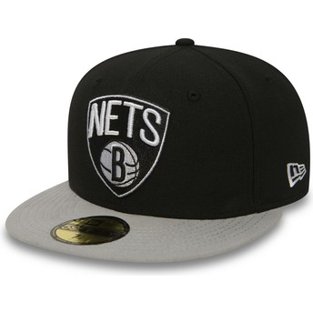 Boné plano preto justo 59FIFTY Essential da Brooklyn Nets NBA da New Era