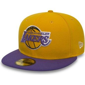 Boné plano amarelo justo 59FIFTY Essential da Los Angeles Lakers NBA da New Era
