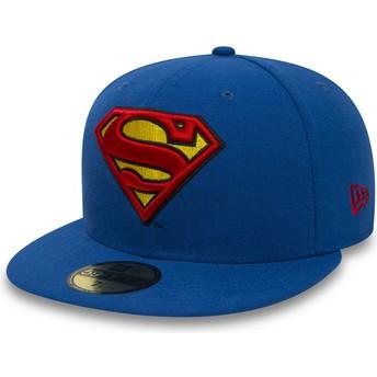 Boné plano azul justo 59FIFTY Superman Character Essential Warner Bros. da New Era