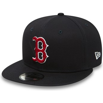 Boné plano azul marinho snapback 9FIFTY Essential da Boston Red Sox MLB da New Era
