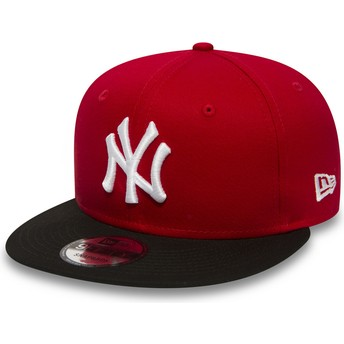 Boné plano vermelho snapback 9FIFTY Cotton Block da New York Yankees MLB da New Era