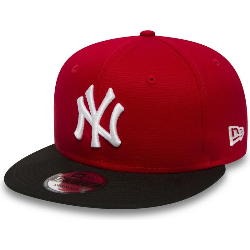 5c51acecb5e26 Boné plano vermelho snapback 9FIFTY Cotton Block da New York Yankees ...