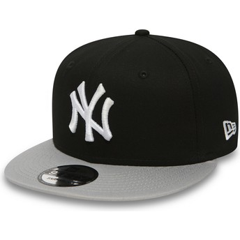 Boné plano preto snapback 9FIFTY Cotton Block da New York Yankees MLB da New Era