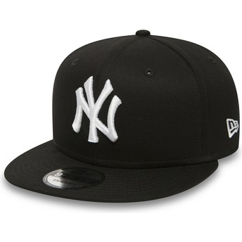 Boné plano preto snapback 9FIFTY White on Black da New York Yankees MLB da New Era