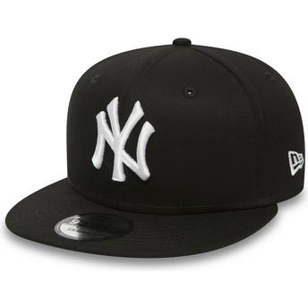 Boné plano preto snapback 9FIFTY White on Black da New York Yankees MLB da New Era