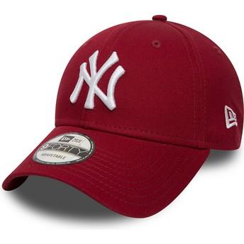 Boné curvo vermelho cardenal ajustável 9FORTY Essential da New York Yankees MLB da New Era