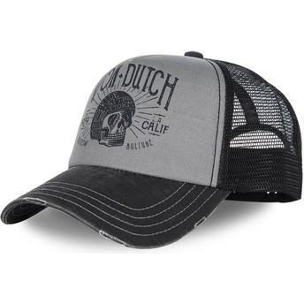 Boné curvo cinza e preto ajustável CREW1 da Von Dutch