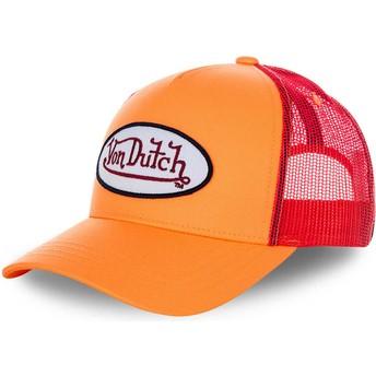 Boné trucker laranja e vermelho FRESH03 da Von Dutch