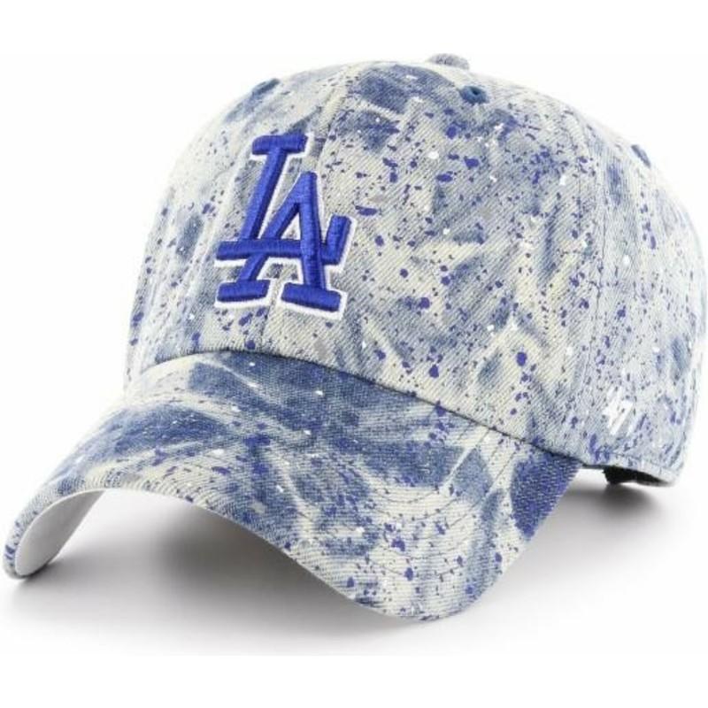 Boné curvo azul com logo azul da Los Angeles Dodgers MLB Clean Up ... 0cefd3edc4f