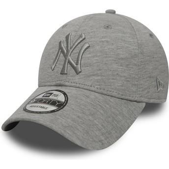 Boné curvo cinza ajustável com logo cinza da New York Yankees MLB 9FORTY Essential da New Era
