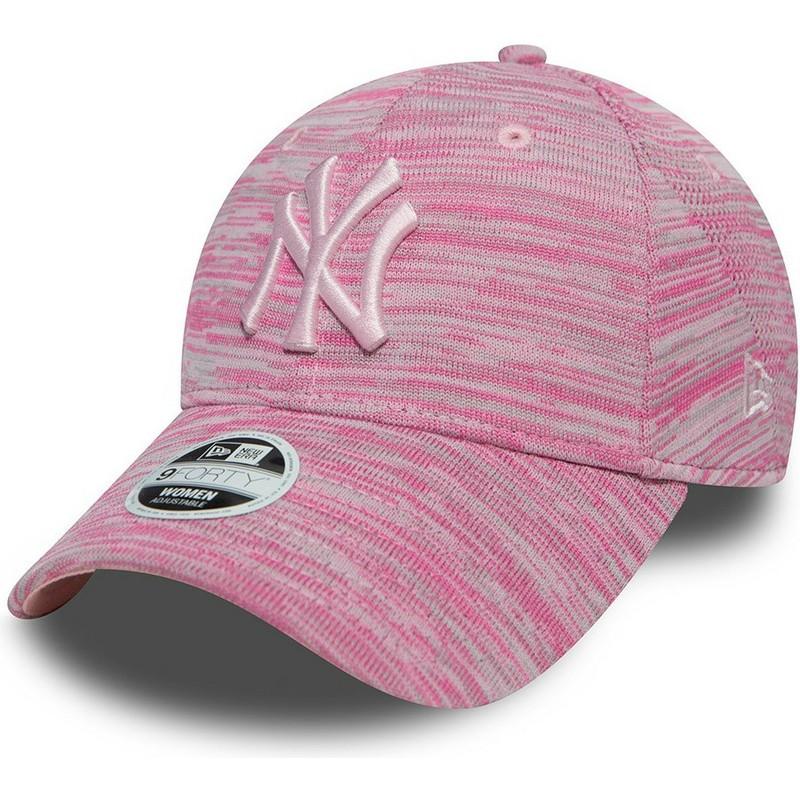 7580e7ac0 ... York Yankees MLB 9FORTY Engineered Fit da New Era. bone-curvo-rosa -ajustavel-com-logo-rosa-da-