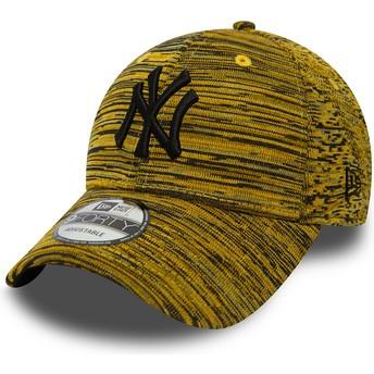 Boné curvo amarelo ajustável com logo preto da New York Yankees MLB 9FORTY Engineered Fit da New Era