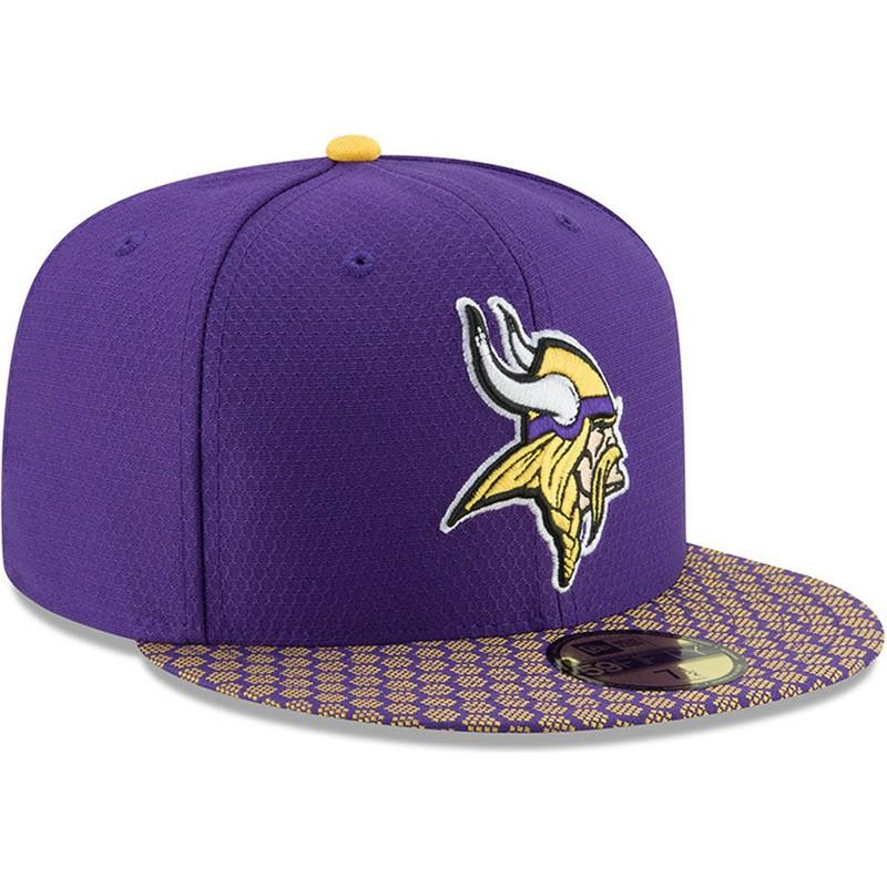 Boné plano violeta justo 59FIFTY Sideline da Minnesota Vikings NFL ... 314463dac12f4