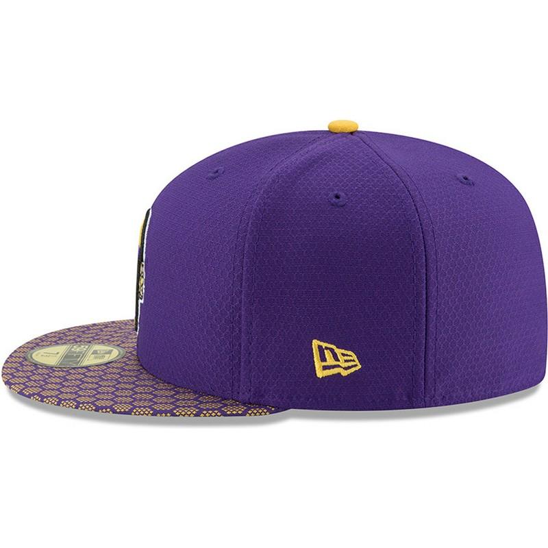 Boné plano violeta justo 59FIFTY Sideline da Minnesota Vikings NFL ... 07ea34c4aa0