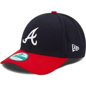 Boné curvo azul marinho e vermelho ajustável 9FORTY The League da Atlanta Braves MLB da New Era