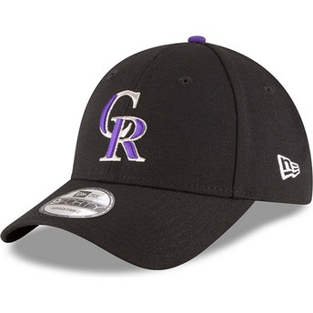 Boné curvo preto ajustável 9FORTY The League da Colorado Rockies MLB da New Era