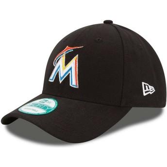 Boné curvo preto ajustável 9FORTY The League da Miami Marlins MLB da New Era