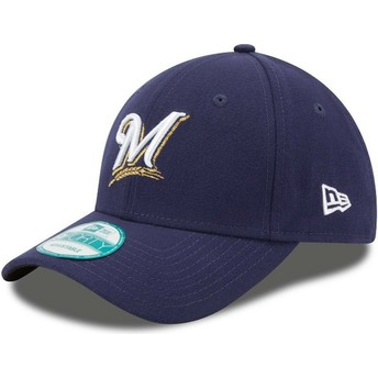 Boné curvo azul marinho ajustável 9FORTY The League da Milwaukee Brewers MLB da New Era