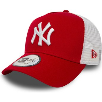 Boné trucker vermelho Clean A Frame 2 da New York Yankees MLB da New Era