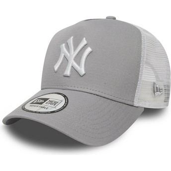 Boné trucker cinza Clean A Frame 2 da New York Yankees MLB da New Era