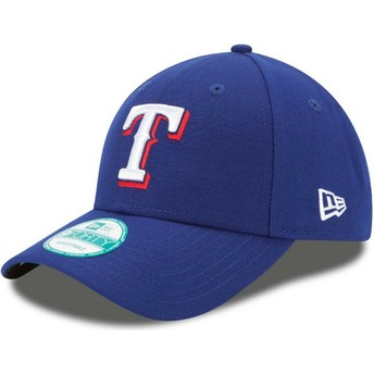 Boné curvo azul ajustável 9FORTY The League da Texas Rangers MLB da New Era