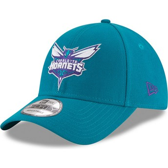 Boné curvo azul ajustável 9FORTY The League da Charlotte Hornets NBA da New Era