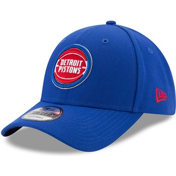 Boné curvo azul ajustável 9FORTY The League da Detroit Pistons NBA da New Era