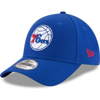 Boné curvo azul ajustável 9FORTY The League da Philadelphia 76ers NBA da New Era