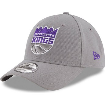 Boné curvo cinza ajustável 9FORTY The League da Sacramento Kings NBA da New Era