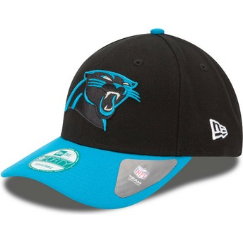 Boné curvo preto e azul ajustável 9FORTY The League da Carolina Panthers NFL da New Era
