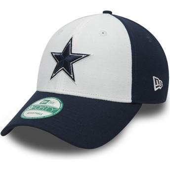 Boné curvo branco e azul marinho ajustável 9FORTY The League da Dallas Cowboys NFL da New Era