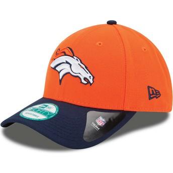 Boné curvo laranja e azul marinho ajustável 9FORTY The League da Denver Broncos NFL da New Era