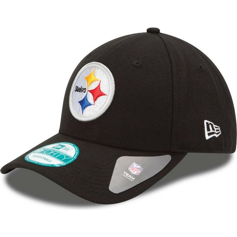 ac262a325e750 Boné curvo preto ajustável 9FORTY The League da Pittsburgh Steelers ...
