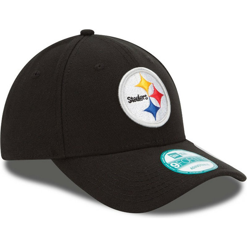 9c5ca9555 Boné curvo preto ajustável 9FORTY The League da Pittsburgh Steelers ...