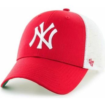 Boné trucker vermelho para criança da New York Yankees MLB MVP Branson da 47 Brand