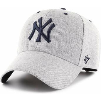 Boné curvo cinza ajustável da New York Yankees MLB MVP Storm Cloud da 47 Brand