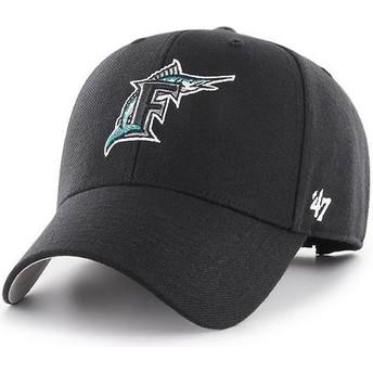 Boné curvo preto ajustável com logo clássico da Miami Marlins MLB MVP Cooperstown da 47 Brand