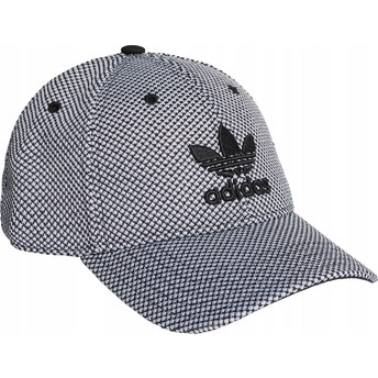 Boné curvo branco e preto com logo preto Trefoil Primeknit da Adidas