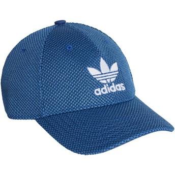 Boné curvo azul com logo branco Trefoil Primeknit da Adidas