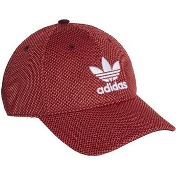 Boné curvo vermelho e preto com logo branco Trefoil Primeknit da Adidas
