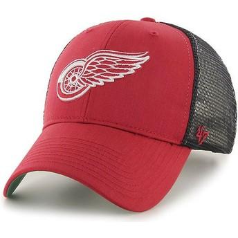 Boné trucker vermelho com grade preta da Detroit Red Wings NHL MVP Branson da 47 Brand
