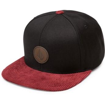 Boné plano preto snapback com pala vermelho Quarter Fabric Cabernet da Volcom