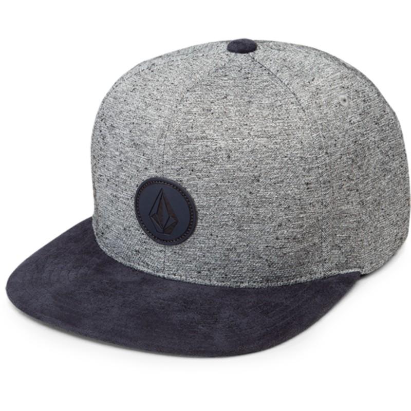 c63c1c905d190 Boné plano cinza snapback com pala azul marinho Quarter Fabric ...