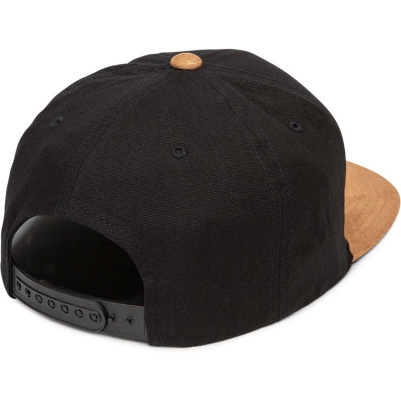 40729791f1432 Boné plano preto snapback com pala castanho Quarter Fabric Vintage ...