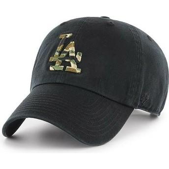 Boné curvo preto com logo camuflagem da Los Angeles Dodgers MLB Clean Up Camfill da 47 Brand